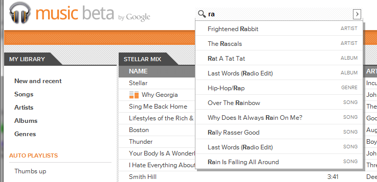 Google Music Beta Search Bar View